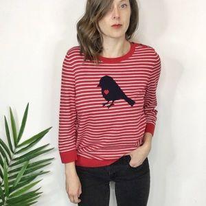 TALBOTS striped sweater bird heart red & navy
